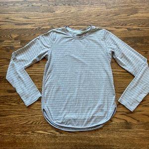Athleta girl gray blue striped long sleeve shirt